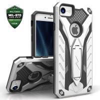 Zizo Static Cover - Pancerne etui iPhone 8 / 7 z podstawką (srebrny/czarny)