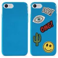 PURO Patch Mania - Etui iPhone 8 / 7 w zestawie 5 naklejek (niebieski)