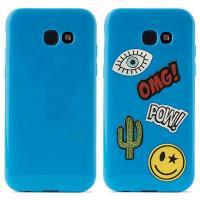 PURO Patch Mania - Etui Samsung Galaxy A3 (2017) w zestawie 5 naklejek (niebieski)