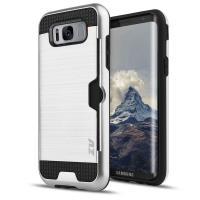 Zizo Metallic Hybrid Cover - Etui Samsung Galaxy S8 z kieszenią na kartę (czarny/srebrny)