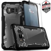 Zizo Proton Case - Pancerne etui Samsung Galaxy S8 ze szkłem 9H na ekran (czarny/przezroczysty)