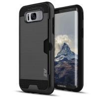 Zizo Metallic Hybrid Cover - Etui Samsung Galaxy S8+ z kieszenią na kartę (czarny)