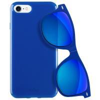 PURO Sunny Kit - Zestaw etui iPhone 8 / 7 + składane okulary przeciwsłoneczne (niebieski)