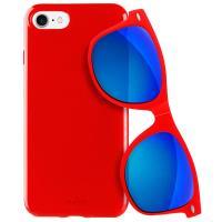 PURO Sunny Kit - Zestaw etui iPhone 7 + składane okulary przeciwsłoneczne (czerwony)