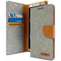 Mercury Canvas Diary - Etui Samsung Galaxy S8 z kieszeniami na karty + stand up (szary/camel)