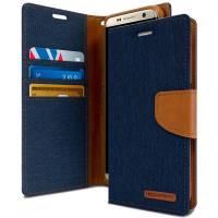 Mercury Canvas Diary - Etui Samsung Galaxy S8+ z kieszeniami na karty + stand up (granatowy/camel)