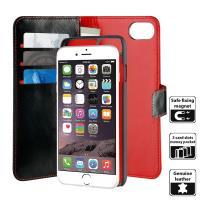 PURO Duetto Wallet Detachable - Skórzane etui 2w1 iPhone 8 / 7 / 6s / 6 (czarny/czerwony)