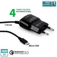 PURO Fast Compact Mini Travel Charger - Uniwersalna ładowarka sieciowa z kablem Micro USB, 2 A, Qualcomm QC 3.0 (czarny)