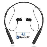 PURO Magnet Neckband Earphones - Bezprzewodowe słuchawki Bluetooth V4.1 z pałąkiem na kark, obsługujące do 2 urządzeń jednocześnie + magnetyczne mocowanie (czarny)