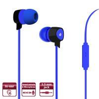 PURO Prisma Earphones - Słuchawki z płaskim kablem z mikrofonem i pilotem (niebieski)
