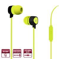 PURO Prisma Earphones - Słuchawki z płaskim kablem z mikrofonem i pilotem (limonkowy)