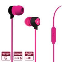 PURO Prisma Earphones - Słuchawki z płaskim kablem z mikrofonem i pilotem (różowy)