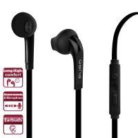 PURO Balance Earphones - Słuchawki z płaskim kablem z mikrofonem i pilotem (czarny)