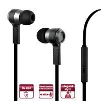 PURO Biz Earphones - Słuchawki z płaskim kablem z mikrofonem i pilotem (czarny)