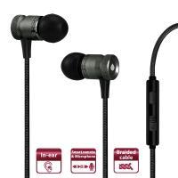 PURO Fabric Earphones - Słuchawki z kablem w oplocie z mikrofonem i pilotem (czarny)