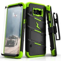 Zizo Bolt Cover - Pancerne etui Samsung Galaxy S8 ze szkłem 9H na ekran + podstawka & uchwyt do paska (Black/Neon Green)