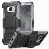 Zizo Armor Hybrid Cover - Pancerne etui Samsung Galaxy S8+ z podstawką + uchwyt do paska (Gray/Black)