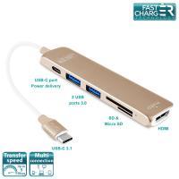 PURO Type-C HUB - Wieloportowy adapter z USB-C 3.1, 2 x USB 3.0, SD & Micro SD, HDMI oraz USB-C PD (złoty)