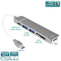 PURO Type-C HUB - Wieloportowy adapter z USB-C 3.1, 2 x USB 3.0, SD & Micro SD, HDMI oraz USB-C PD (srebrny)