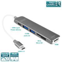 PURO Type-C HUB - Wieloportowy adapter z USB-C 3.1, 2 x USB 3.0, SD & Micro SD, HDMI oraz USB-C PD (gwiezdna szarość)
