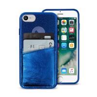 PURO Shine Pocket - Etui iPhone 8 / 7 / 6s / 6 z doklejaną kieszenią na karty (granatowy)