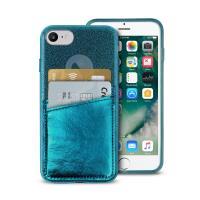 PURO Shine Pocket - Etui iPhone 8 / 7 / 6s / 6 z doklejaną kieszenią na karty (ciemnozielony)