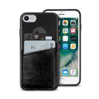 PURO Shine Pocket - Etui iPhone 8 / 7 / 6s / 6 z doklejaną kieszenią na karty (czarny)
