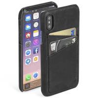 Krusell Sunne 2 Card Cover - Skórzane etui iPhone X z dwoma zewnętrznymi kieszeniami na karty (Black)