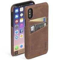Krusell Sunne 2 Card Cover - Skórzane etui iPhone X z dwoma zewnętrznymi kieszeniami na karty (Brown)