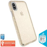 Speck Presidio Clear with Glitter - Etui iPhone X (Gold Glitter/Clear)