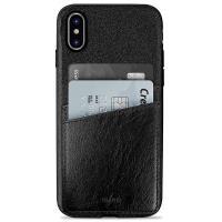 PURO Shine Pocket - Etui iPhone X z doklejaną kieszenią na karty (czarny)