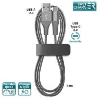 PURO Braided Cable - Kabel USB-C 2.0 na USB 2.0 + klips + Aluminum Connector, 3 A, 480 MBps, 1 m (Space Gray)