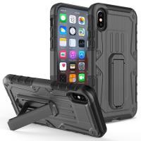 Zizo Heavy Duty Armor Case - Pancerne etui iPhone X z podstawką + uchwyt do paska (Black/Black)