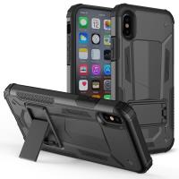 Zizo Hybrid Transformer Cover - Pancerne etui iPhone X z podstawką (Black/Black)