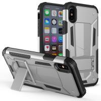 Zizo Hybrid Transformer Cover - Pancerne etui iPhone X z podstawką (Silver/Black)