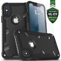 Zizo Proton Case - Pancerne etui iPhone X ze szkłem 9H na ekran (Black/Solid Black)