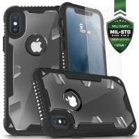 Zizo Proton Case - Pancerne etui iPhone X ze szkłem 9H na ekran (Black/Trans Clear)
