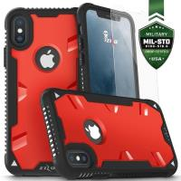 Zizo Proton Case - Pancerne etui iPhone X ze szkłem 9H na ekran (Black/Solid Red)