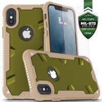 Zizo Proton Case - Pancerne etui iPhone X ze szkłem 9H na ekran (Desert Tan/Solid Camo Green)