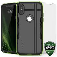 Zizo Shock Case - Pancerne etui iPhone X z hartowanym szkłem na ekran (Neon Green/Black)