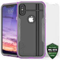Zizo Shock Case - Pancerne etui iPhone X z hartowanym szkłem na ekran (Purple/Gray)