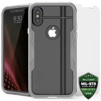 Zizo Shock Case - Pancerne etui iPhone X z hartowanym szkłem na ekran (Silver/Gray)