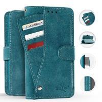 Zizo Slide Out Wallet Pouch - Skórzane etui iPhone X z kieszeniami na karty wewnątrz oraz na zewnątrz etui + stand up (Blue)