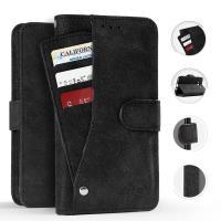 Zizo Slide Out Wallet Pouch - Skórzane etui iPhone X z kieszeniami na karty wewnątrz oraz na zewnątrz etui + stand up (Black)