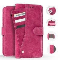 Zizo Slide Out Wallet Pouch - Skórzane etui iPhone X z kieszeniami na karty wewnątrz oraz na zewnątrz etui + stand up (Pink)