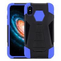 Zizo Dual Layered Hybrid Cover - Pancerne etui iPhone X z podstawką (Blue)