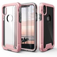 Zizo ION Cover - Pancerne etui iPhone X + szkło 9H na ekran (Rose Gold/Clear)