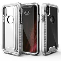 Zizo ION Cover - Pancerne etui iPhone X + szkło 9H na ekran (Silver/Clear)