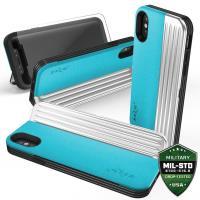 Zizo Retro Series - Etui iPhone X z kieszeniami na karty + podstawka (Baby Blue/Silver)