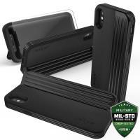 Zizo Retro Series - Etui iPhone X z kieszenią na karty + podstawka + szkło 9H na ekran (Black/Black)